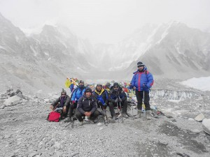 Everest Base Camp with porters and guides.