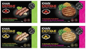 Photo of the fronts of 4 packaging items - halal burgers and halal kebabs